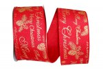 "2 1/2"" Linen Merry Christmas Ribbon - Wire Edge"