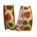 "1 1/2"" Strawberry Linen Ribbon - Wire Edge"