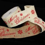 "4"" Burlap Merry Christmas Ribbon - Wire Edge"