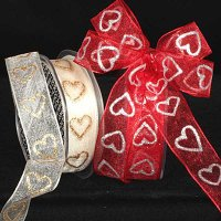 "1"" Sheer Heart Ribbon - Wire Edge"