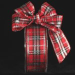 Red & Silver Woven Plaid Holiday Ribbon Wire Edge
