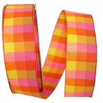 "1 1/2"" Plaid Bright 2 Ribbon - Wire Edge"