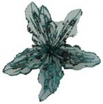 Craft Flower - Sheer Fabric - Teal - Set of 3 (#48405)