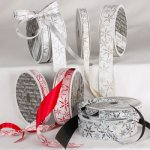 "3/8"" Satin Snow Crystals Ribbon (#41772-156)"