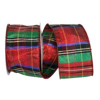 Plaid Lame Metallic Jewel Ribbon Wire Edge