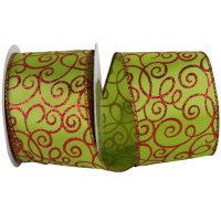 "2 1/2"" Lime Swirl Ribbon Wire Edge"