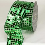 "3"" Green Square Sequence Fab Ribbon - Wire Edge"