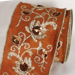 "4"" Brown Kashmir Dupioni Ribbon - WE (#10034-141)"