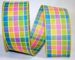"2 1/2"" Color Block Plaid Ribbon - Wire Edge"