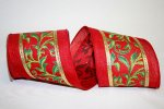 "4"" Exquiste Scroll Linen Ribbon - Wire Edge"