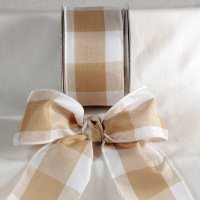Ivory Large Check Ribbon - Wire Edge