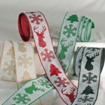 "2 1/2"" Snowflake Stag Ribbon - Wire Edge"