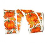 "2 1/2"" Pumpkin Row Linen Ribbon - Wire Edge"