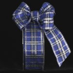 Blue & Silver Woven Plaid Holiday Ribbon - Wire Edge
