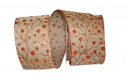 Berries Copper Linen Ribbon - Wire Edge