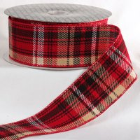 Woven Plaid Ribbon Wire Edge