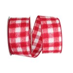 Brushed Gingham Check Flannel Ribbon Wire Edge