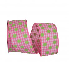 "2 1/2"" Gingham Check Dot Bright Ribbon - Wire Edge"