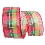 "2 1/2"" Cranberry Lime Plaid Ribbon - Wire Edge"
