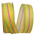 "1 1/2"" Stripe Bright Linen Lines Ribbon - Wire Edge"