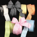 Houndstooth Print Ribbon - Wire Edge