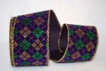 "2 1/2"" Mardi Gras Diamond Ribbon - Wire Edge"