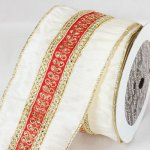 "4"" Ivory Pradesh Dupion Ribbon - Wire Edge"