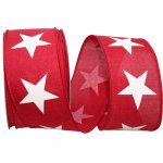 "2 1/2"" Large Star Line Linen Ribbon - Wire Edge"