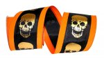 "4"" Gold Skull Overlay Ribbon - Wire Edge"