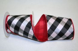 Checkered Spray Ribbon - Wire Edge