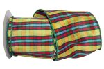 Dupioni Plaid Grassland Ribbon - Wire Edge
