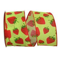 "2 1/2"" Strawberry Linen Ribbon - Wire Edge"