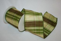 Plaid Dupioni Green Ribbon - Wire Edge