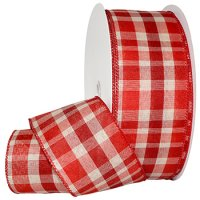 Providence Red Check Ribbon Wire Edge