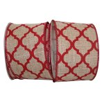 Red Trellis Linen Ribbon - Wire Edge