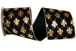 "2 1/2"" Black Velvet Gold Fleur-De-Lis WE (#92446W-S)"