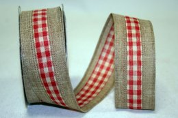 Linen Check Ribbon - Wire Edge