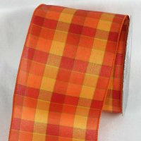 "4"" Orange/Yellow Tartan Chic Ribbon Wire Edge"