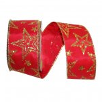 "2 1/2"" Star Glitter Taffeta Ribbon - Wire Edge"