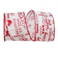 "2 1/2"" Words of Love Linen Ribbon Wire Edge"