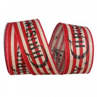 Merry Christmas Striped Linen Ribbon Wire Edge