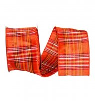Plaid Terra Dupioni Ribbon - Wire Edge