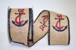 Anchor Burlap Ribbon - Wired (#90934W)