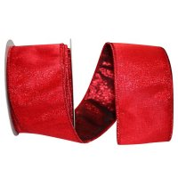 "2 1/2"" Luxury Mesh Red Lame - Wire Edge"