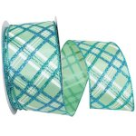 Aqua Glitter Plaid Ribbon - Wire Edge