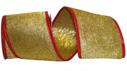 "4"" Tinsel Lame Christmas Ribbon - Wire Edge"