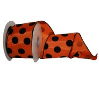 "2 1/2"" Orange Dotty Felt Ribbon Wire Edge"
