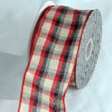 "2 1/2"" Red/Ivory Tartan Ribbon - Wire Edge"