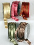 "5/8"" Woven Satin Chevron Ribbon - Wire Edge"