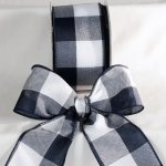 Navy Large Check Ribbon - Wire Edge